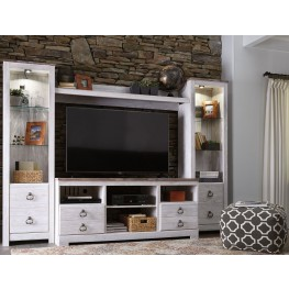 Willowton Whitewash Entertainment Wall