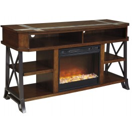 Vinasville LG TV Stand With Glass/Stone Fireplace Insert