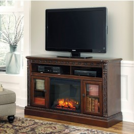 North Shore LG TV Stand With Fireplace Insert