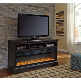 Sharlowe Charcoal TV Stand With Wide Fireplace Insert