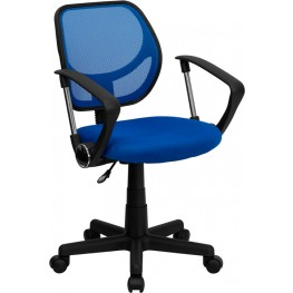 Mid-Back Blue Task Chair And Computer Chair With Arms (Min Order Qty Required)