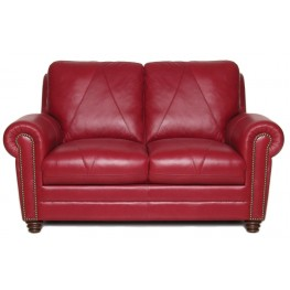 Weston Cherry Italian Leather Loveseat