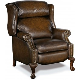 Clawson Dark Walnut Leather Recliner