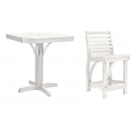 "St Tropez White 35"" Square Counter Dining Room Set"