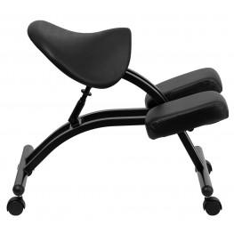Black Saddle Seat Ergonomic Kneeling Chair