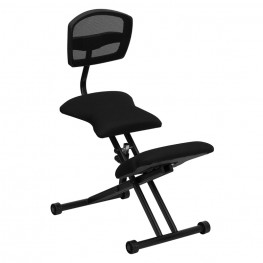 Black Ergonomic Kneeling Chair with Back