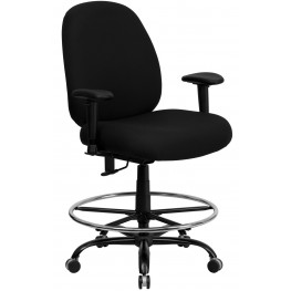 Hercules Big And Tall Black Fabric Arm Drafting Stool (Min Order Qty Required)