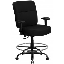 HERCULES Big & Tall Black Fabric Arm Drafting Stool