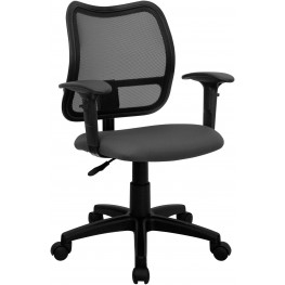 Mid-Back Task Chair With Thick Gray Fabric Seat And Arms (Min Order Qty Required)