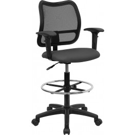 Mid-Back Drafting Stool With Thick Gray Fabric Seat And Arms (Min Order Qty Required)