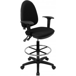Black Multi Functional Drafting Stool With Arms And Adjustable Lumbar Support (Min Order Qty Required)