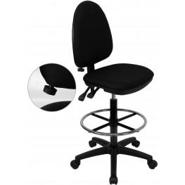 Black Multi Functional Drafting Stool With Adjustable Lumbar Support (Min Order Qty Required)