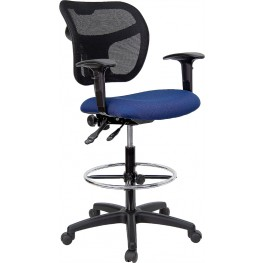 Mid-Back Drafting Stool with Navy Blue Fabric Seat and Arms