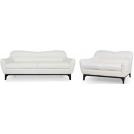 Wollo Pure White Top Grain Leather Living Room Set