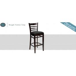 Hercules Walnut Finished Ladder Back Wooden Restaurant Bar Stool - Black Vinyl Seat
