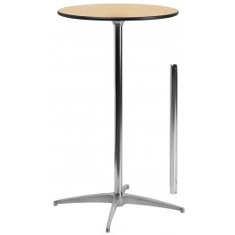 """24"""" Round Wood Cocktail Table with 30"""" and 42"""" Columns"""