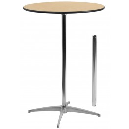 """30"""" Round Wood Cocktail Table with 30"""" and 42"""" Columns"""