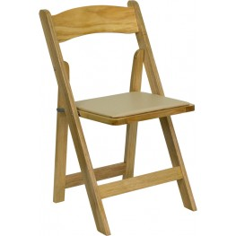 Hercules Natural Wood Folding Chair with Padded Seat