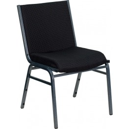 Hercules Heavy Duty 3'' Thickly Padded Black Upholstered Stack Chair