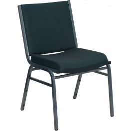 Hercules Heavy Duty 3'' Thickly Padded Green Upholstered Stack Chair