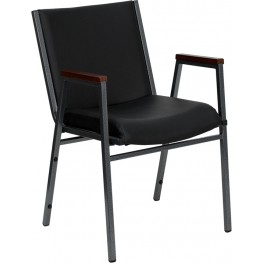 Hercules Heavy Duty 3'' Thickly Padded Black Vinyl Stack Chair W/ Arms