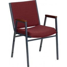 Hercules Heavy Duty, 3'' Thickly Padded, Burgundy Patterned Upholstered Stack Chair with Arms