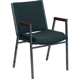 Hercules Heavy Duty, 3'' Thickly Padded, Hunter Green Patterned Upholstered Stack Chair with Arms