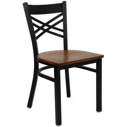 Hercules Black ''X'' Back Metal Restaurant Chair - Cherry Wood Seat