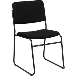Hercules 1500 lb. Capacity High Density Black Fabric Stacking Chair with Sled Base
