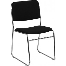 Hercules 1500 lb. Capacity Black Fabric High Density Stacking Chair with Chrome Sled Base