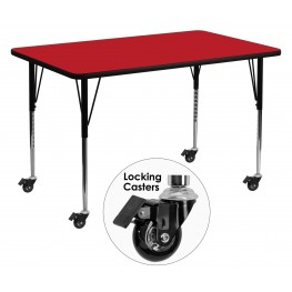 "Mobile 30""W x 60""L Rectangular Adjustable Height Red Activity Table"