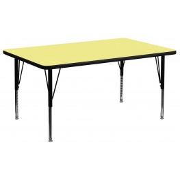 "30""W x 60""L Rectangular Pre-School Yellow Activity Table"