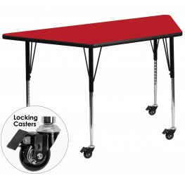 "Mobile 30""W x 60""L Trapezoid Adjustable Height Red Activity Table"
