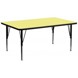 "30""W x 72""L Rectangular Pre-School Yellow Activity Table"