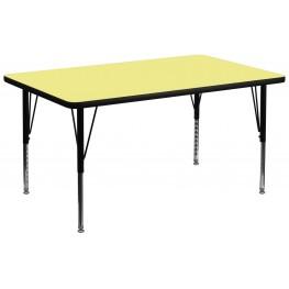 "36""W x 72""L Rectangular Pre-School Yellow Activity Table"