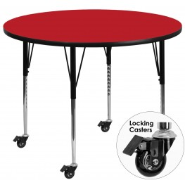 "Mobile 42"" Round Adjustable Height Red Activity Table"