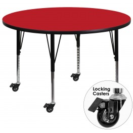 "Mobile 48"" Round Pre-School Adjustable Height Red Activity Table"