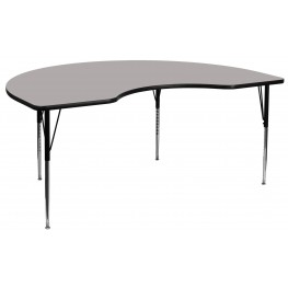 """72""""L Kidney Shaped Adjustable Height Gray Activity Table"""