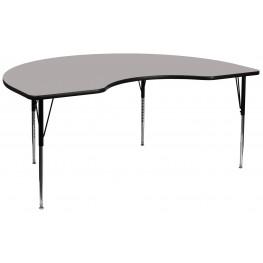"""96""""L Kidney Shaped Adjustable Height Gray Activity Table"""