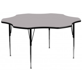 """60"""" Flower Shaped Adjustable Height Gray Activity Table"""