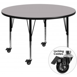 "Mobile 60"" Round Pre-School Adjustable Height Gray Activity Table"