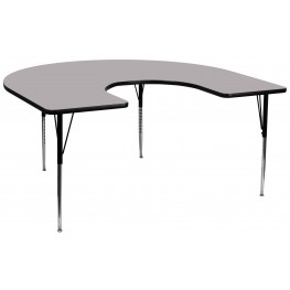 """66""""L Horseshoe Adjustable Height Gray Activity Table"""