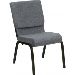 18.5''W Gray Stacking Hercules Church Chair - Gold Vein Frame