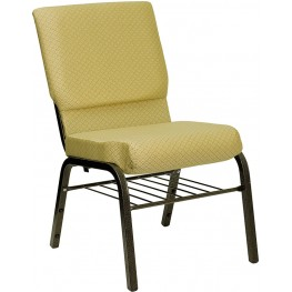 18.5''W Beige Patterned Hercules Church Chair with Book Basket - Gold Vein Frame Finish