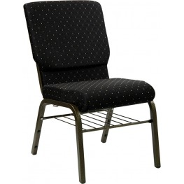 18.5''W Black Patterned Hercules Church Chair with 4.25'' Thick Seat, Book Basket - Gold Vein Frame Finish