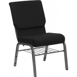 18.5''W Black Stacking Hercules Church Chair - Silver Vein Frame Finish, Book Basket