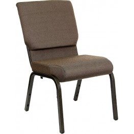 18.5''W Brown Fabric Stacking Hercules Church Chair with 4.25'' Thick Seat - Gold Vein Frame Finish