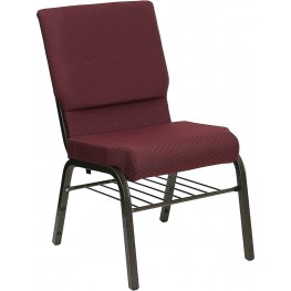 18.5''W Burgundy Patterned Hercules Church Chair with Book Basket - Gold Vein Frame