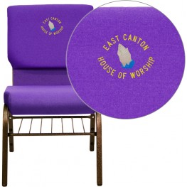 Embroidered HERCULES Series Purple Fabric Church Chair with Gold Vein Frame