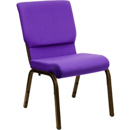 18.5''W Purple Fabric Stacking Hercules Church Chair with Gold Finish